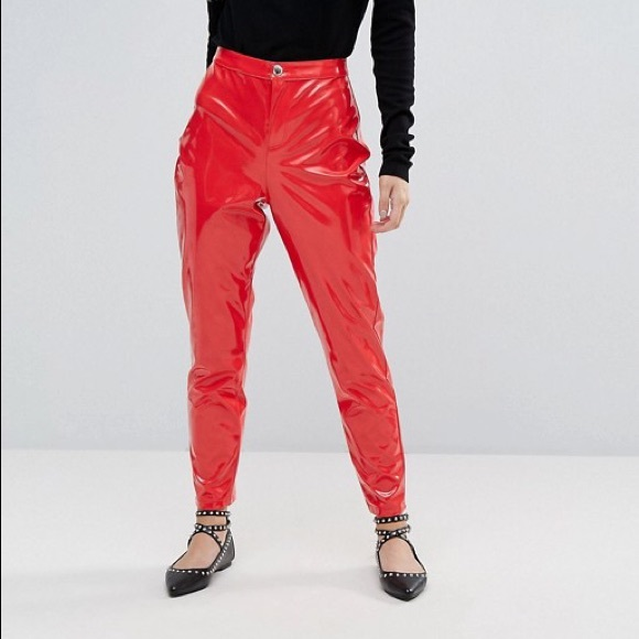 62c404c3f1a70 Miss Selfridge Red High Waisted Vinyl Pants. M 5a7f9aa73a112e0f53619443